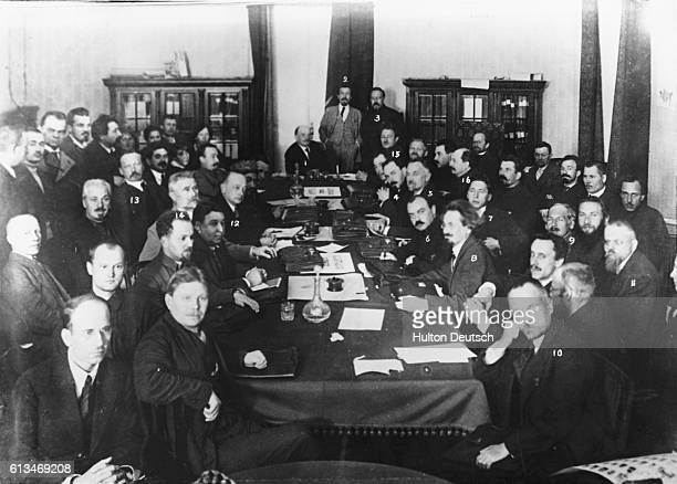 Lenin presides over a meeting of the Bolshevik Council of People's Commissars or Sovnarkom attended by Leon Trotsky