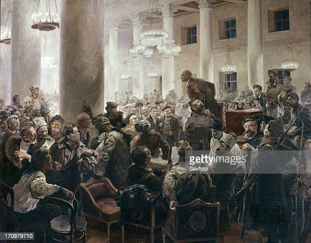 Lenin speaking at the allunion russian congress of soviets' by i a serebryany central lenin museum leningrad meeting of v i lenin with n k krupskoy