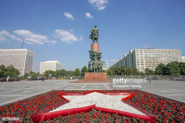 Lenin statue dominates the skyline on Kaluzhskaya Square on June 18 2018 in Moscow Russia