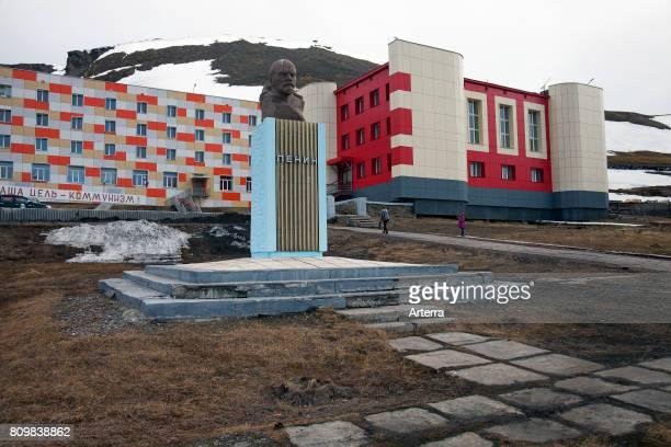 Lenin statue in Barentsburg Russian coal mining settlement at Isfjorden Spitsbergen / Svalbard Norway