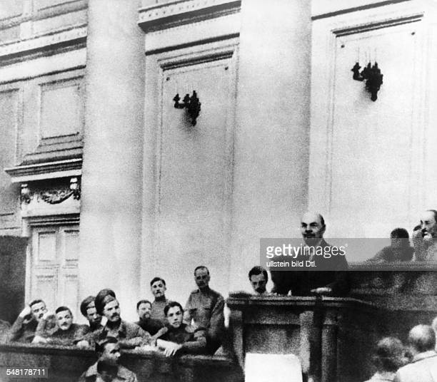 Lenin Vladimir Ilyich Politician UdSSR *22041870 Lenin announcing his April Theses at the Tauride Palace in Saint Petersburg Vintage property of...