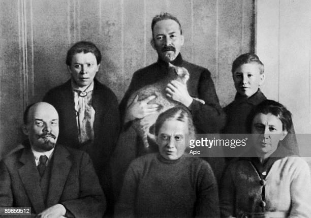 Lenin with his family at Kremlin 1920 front Lenin his wife Nadezhda Krupskaya his sister Anna Ulyanova standing his sister Maria Ulyanova his brother...