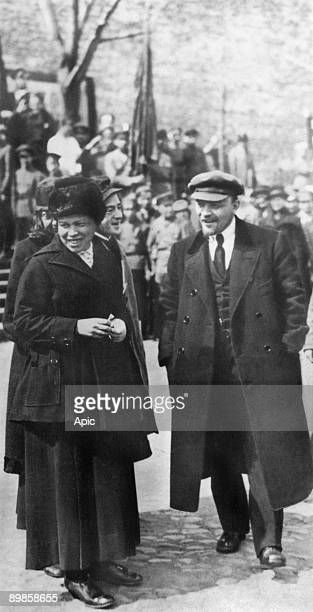 Lenin with his wife Nadezhda Krupskaya and his sister Maria Ulianova on Red Square in Moscow may 25 1919 during Vsevobuch celebrations