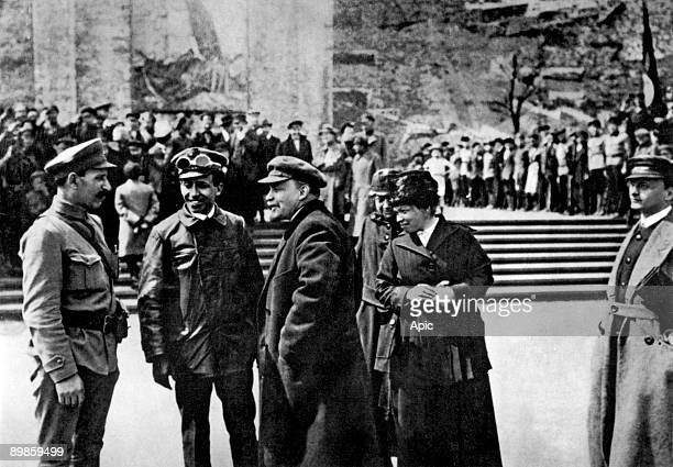Lenin with his wife Nadezhda Krupskaya and Ulianova on Red Square in Moscow may 25 1919 during Vsevobuch celebrations
