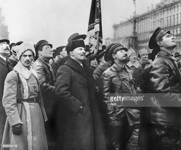 Lenin with Iakov Sverdlov at Marx and Engels 's monument unveiling ceremony in Moscow november 7 1918