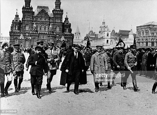 Lenin with Military Commanders in Red Square