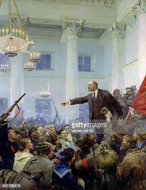 Lenin Wladimir *22041870Politiker UdSSR WI Lenin ruft im erstürmten Winterpalast vor bewaffneten Revolutionären die SowjetMacht aus Gemaelde von...