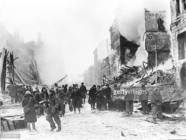 Leningrad after a nazi air raid, in world war ll.