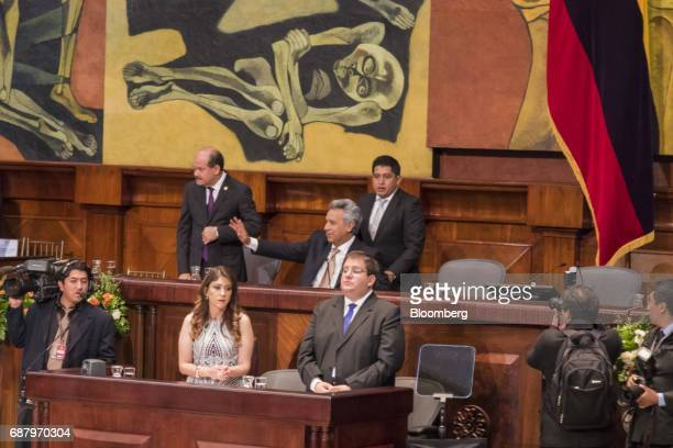 Lenin Moreno Ecuador's presidentelect center waves after arriving for the presidential inauguration at the the National Assembly building in Quito...
