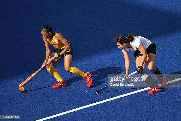 Lenise Marais of South Africa controls the ball in the Women's Hockey preliminary match between South Africa and Germany on Day 6 of the London 2012...