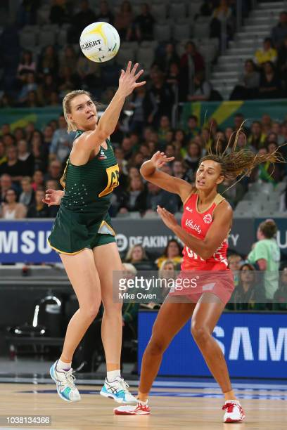 Australian players are seen warming up prior to the Quad Series International Test match between the Australian Diamonds and the New Zealand Silver...