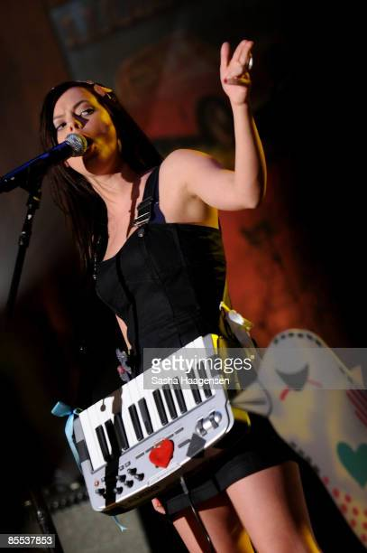 Lenka Kripac of Lenka performs at the DirecTV Live showcase during SXSW at the Bat Bar in the Austin Convention Center on March 20 2009 in Austin...