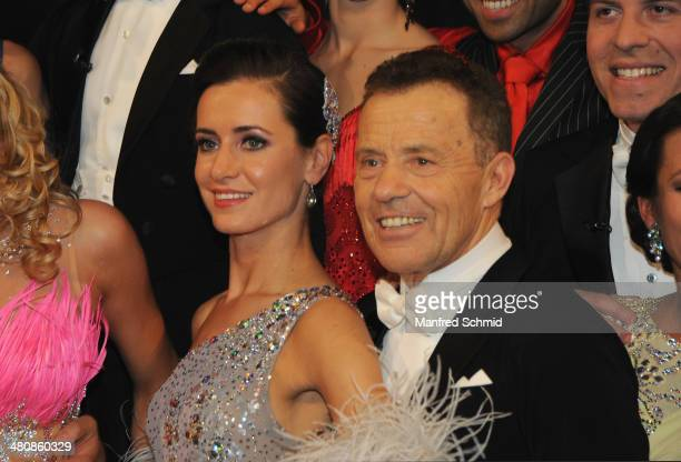Lenka Pohoralek and Erik Schinegger pose for a photograph during the 'Dancing Stars' TV Show after party at ORF Zentrum on March 21 2014 in Vienna...
