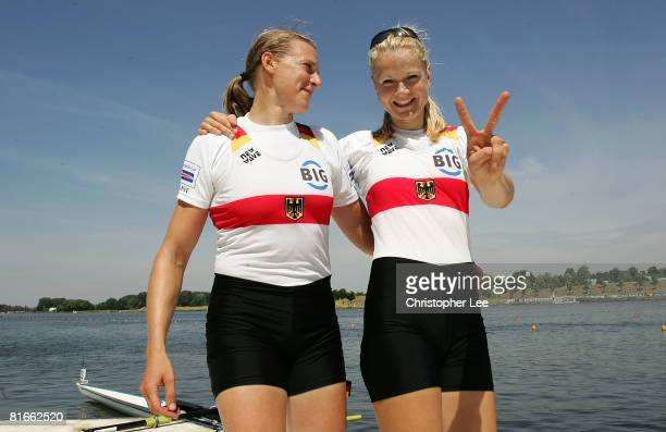 Lenka Wech and Maren Derlien of Germany celebrate after winning Gold in the Women's Pair Final during Day 3 of the FISA Rowing World Cup on Lake...