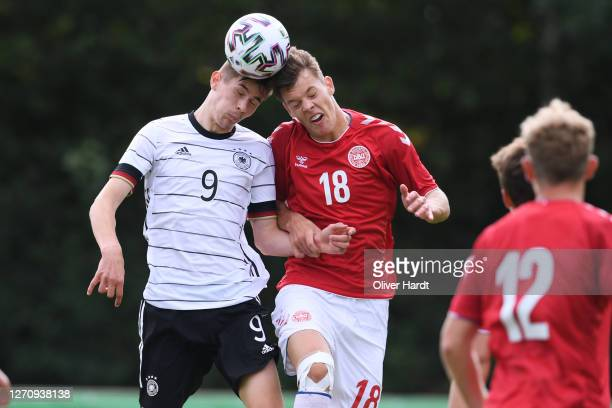 Lenn Jastremski of Germany competes for the ball with Tobias Anker of Denmark during the international friendly match between Germany U20 and Denmark...