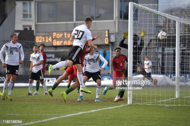 Lenn Jastremski of Germany scores during the u19 international friendly between Germany and Portugal at the Showgrounds on November 13 2019 in...