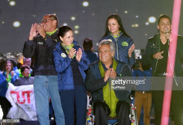 Lenín Moreno presidential candidate for the AP political party along with his wife Rocio Gonzalez during the closing of the campaign before the...