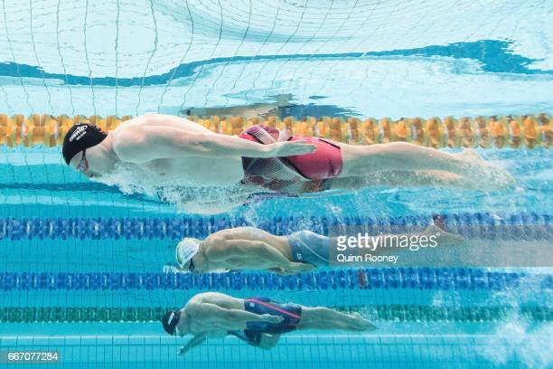 Lennard Bremer Alex Milligan and Matthew Wilson of Australia compete in the Men's 200m Breaststroke during the 2017 Australian Swimming Championships...