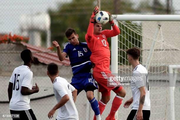 Lennart Grill of Germany in action during the U19 International Friendly between U19 Cyprus and U19 Germany at Anagennisi Dherynia Stadium on...