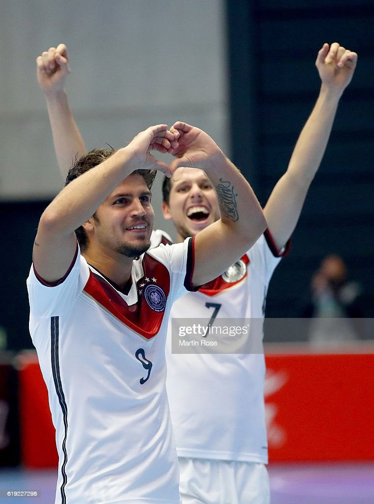 Lennart Hartmann of Germany celebrates after scoring during the Futsal International Friendly match between Germany and England at Inselparkhalle on October 30, 2016 in Hamburg, Germany.