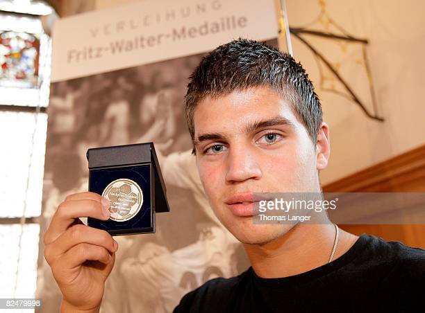 Lennart Hartmann of Hertha BSC Berlin poses with the silver medal for the second best U17 player 2007/2008 during the Fritz Walter Medal Award 2008...