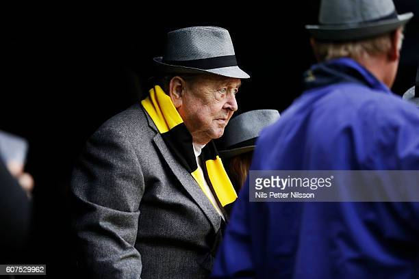 Lennart Johansson former president of UEFA during the Allsvenskan match between AIK and Gefle IF at Friends arena on September 18 2016 in Solna Sweden