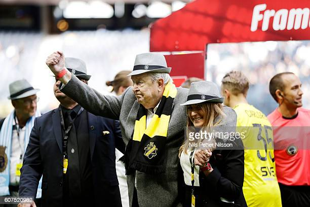 Lennart Johansson former UEFA President ahead of the Allsvenskan match between AIK and Gefle IF at Friends arena on September 18 2016 in Solna Sweden