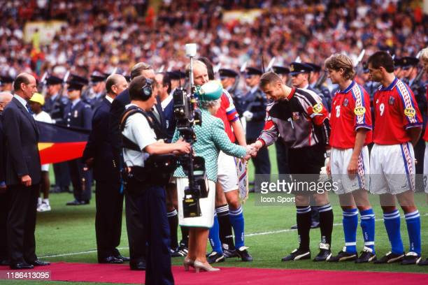 Lennart Johansson president of UEFA Prince Philip and The Queen Elizabeth II salute Petr Kouba of Czech Republic during the European Championship...
