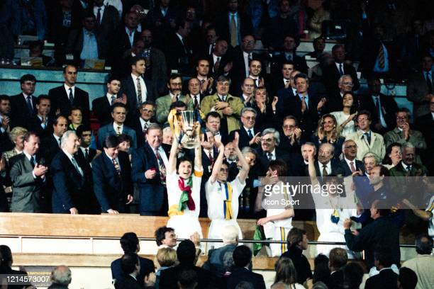 Lennart JOHANSSON president of UEFA The captain of Parma Lorenzo MINOTTI lifts the trophy during the European Cup Winners Cup Final match between...