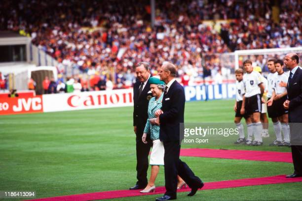 Lennart Johansson president of UEFA The Queen Elizabeth II and Prince Philip during the European Championship final match between Germany and Czech...