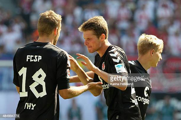 Lennart Thy and Daniel Buballa of St Pauli after the Second League match between RB Leipzig and FC StPauli at RedBull Arena on August 23 2015 in...