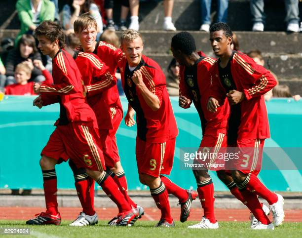 Lennart Thy of Germany celebrates with his teamates after scoring to 10 during the U17 international friendly match between Germany and Spain at the...