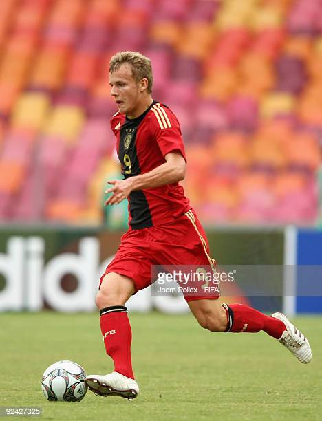 Lennart Thy of Germany plays the ball during the FIFA U17 World Cup Group A match between Argentina and Germany at the Abuja National Stadium on...