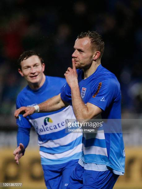 Lennart Thy of PEC Zwolle celebrates 3-2 during the Dutch Eredivisie match between PEC Zwolle v Feyenoord at the MAC3PARK Stadium on February 16,...