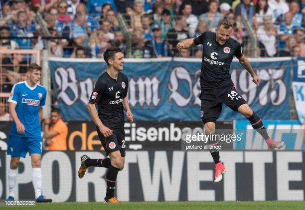 Lennart Thy of St Pauli celebrates his 31 goal together with Johannes Flum during the German Bundesliga 2nd league soccer match between VfL Bochum...