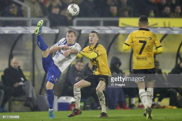 Lennart Thy of VVV Venlo Arno Verschueren of NAC Breda Giovanni Korte of NAC Breda during the Dutch Eredivisie match between NAC Breda and VVV Venlo...