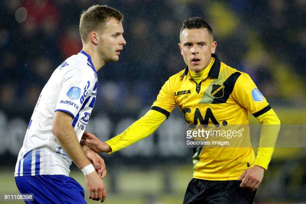 Lennart Thy of VVV Venlo Giovanni Korte of NAC Breda during the Dutch Eredivisie match between NAC Breda v VVVVenlo at the Rat Verlegh Stadium on...
