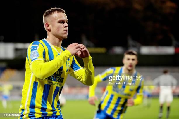 Lennerd Daneels of RKC Waalwijk celebrates 3-2 during the Dutch Eredivisie match between RKC Waalwijk v VVV-Venlo at the Mandemakers Stadium on...