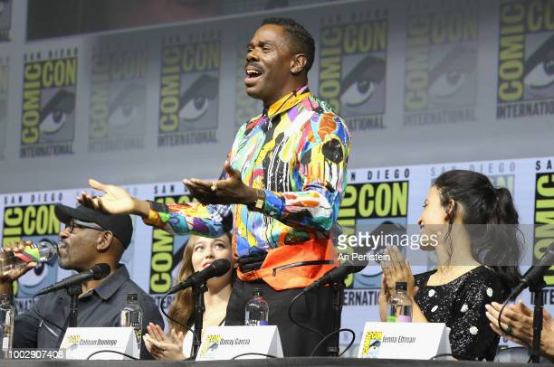Lennie James Alycia DebnamCarey Colman Domingo and Danay Garcia speak onstage at AMC's 'Fear The Walking Dead' panel during ComicCon International...