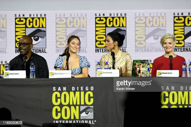 """Lennie James, Alycia Debnam-Curry, Danay Garcia and Maggie Grace speak at the """"Fear The Walking Dead"""" Panel during 2019 Comic-Con International at..."""