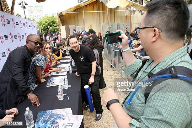 Lennie James and Alycia Debnam-Carey meet fans at AMC's Deadquarters at Comic Con 2019 on July 19, 2019 in San Diego, California.