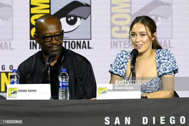 """Lennie James and Alycia Debnam-Curry speak at the """"Fear The Walking Dead"""" Panel during 2019 Comic-Con International at San Diego Convention Center on..."""