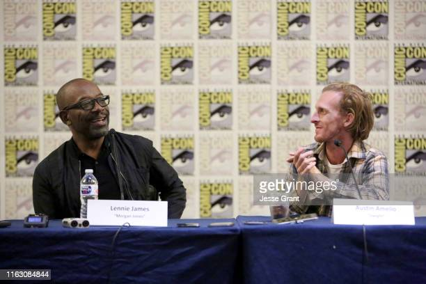 Lennie James and Austin Amelio speak at the Fear The Walking Dead Press Conference at Comic Con 2019 on July 19, 2019 in San Diego, California.