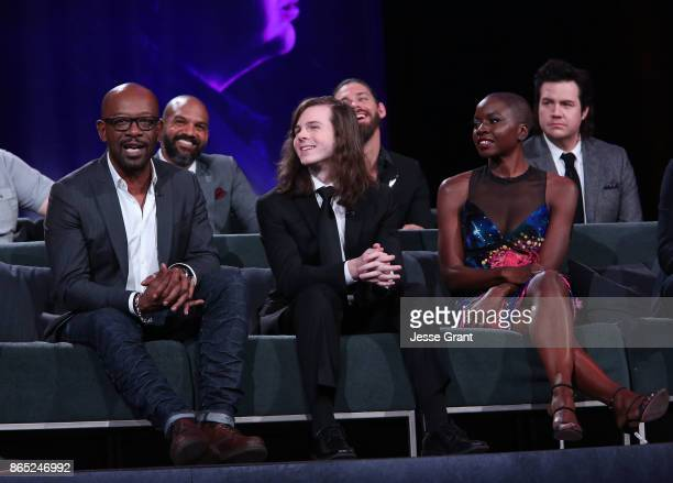 Lennie James Khary Payton Chandler Riggs Tom Payne Danai Gurira Josh McDermitt speak onstage at The Walking Dead 100th Episode Premiere and Party on...
