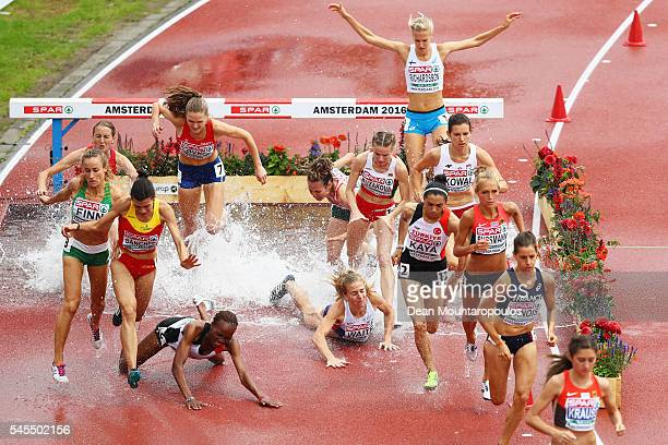 Lennie Waite of Great Britain falls during the qualifying for the womens 3000m steeplechase on day three of The 23rd European Athletics Championships...