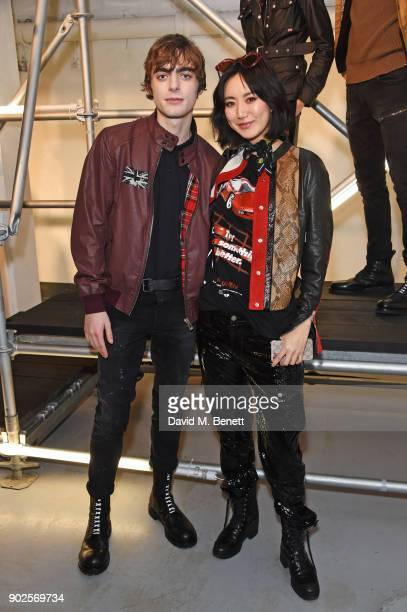 Lennon Gallagher and Betty Bachz attend the Belstaff presentation during London Fashion Week Men's January 2018 at The Vinyl Factory Gallery on...