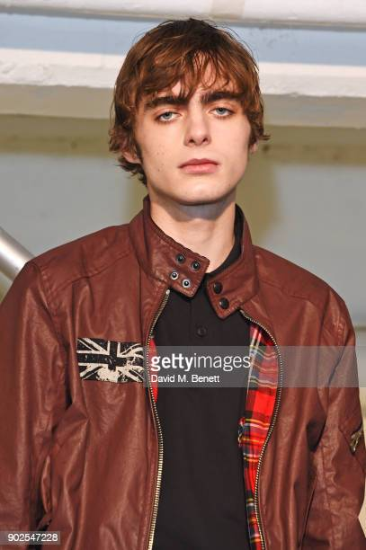 Lennon Gallagher models at the Belstaff presentation during London Fashion Week Men's January 2018 at The Vinyl Factory Gallery on January 8 2018 in...