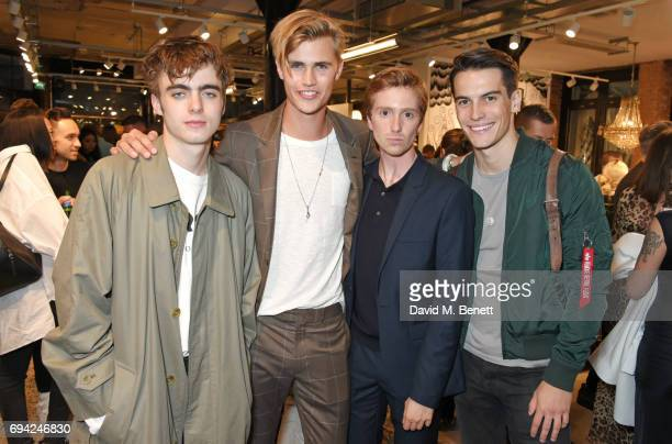 Lennon Gallagher Sam Harwood Luke Newberry and Harry Rowley attend the Rag Bone London flagship store opening on June 9 2017 in London England