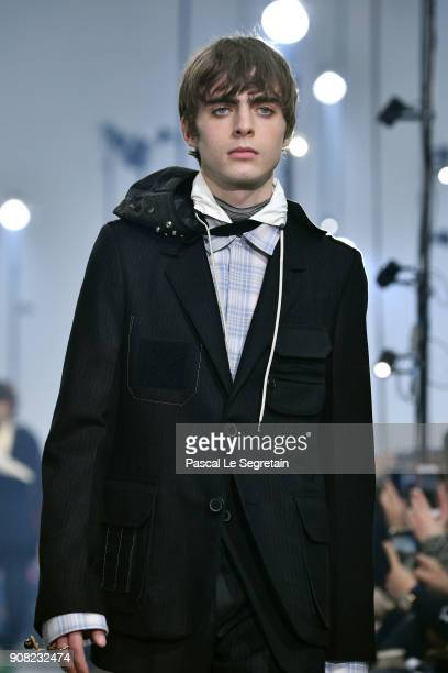 Lennon Gallagher walks the runway during the Lanvin Menswear Fall/Winter 20182019 show as part of Paris Fashion Week on January 21 2018 in Paris...