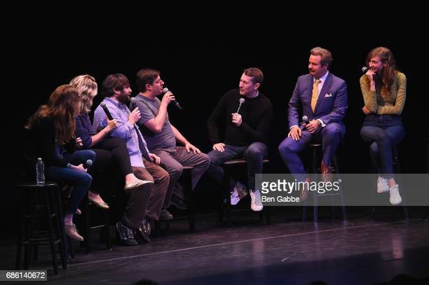 Lennon Parham Jessica St Clair Anthony Atamanuik John Gemberling Scott Aukerman Paul F Tompkins and Lauren Lapkus perform on stage at the Comedy Bang...